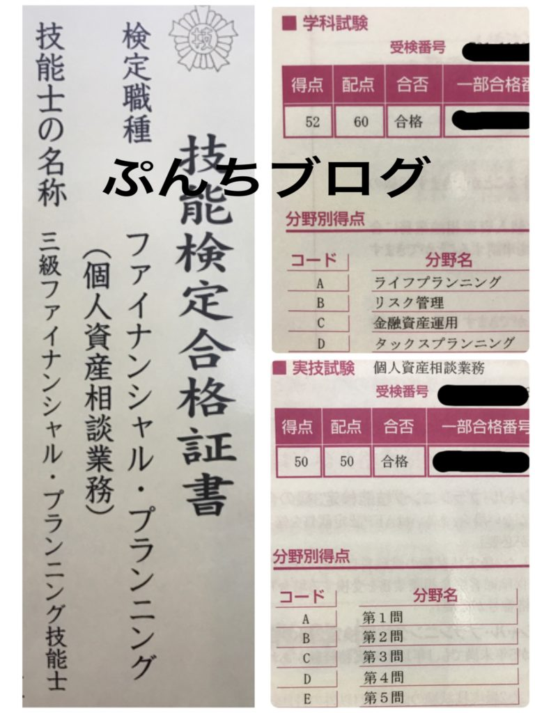 FP3級の合格証書の画像