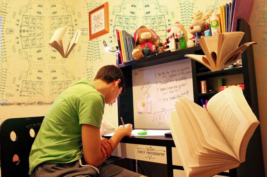 勉強する男の子の画像