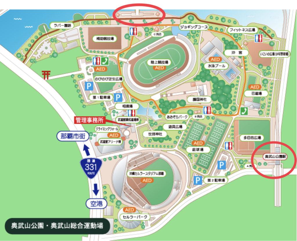 セルラースタジアム那覇周辺にあるモノレール駅を示した地図のイラスト画像