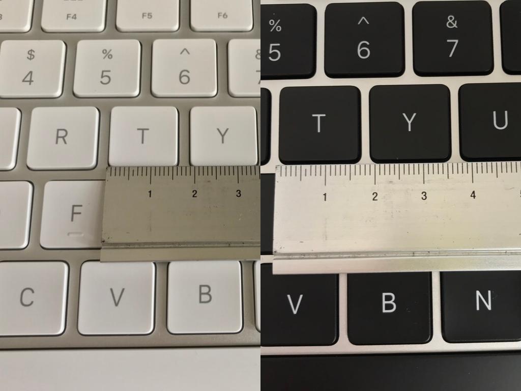 MacBook AirとMagic Keyboard2のキーの大きさの比較