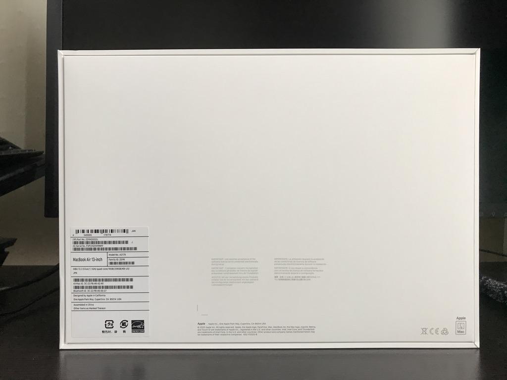 MacBook Air2020の外箱の裏面